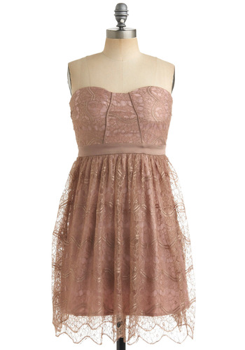Pretty in Mink Dress - Gold, Floral, Lace, Empire, Strapless, Formal, Prom, Wedding, Party, Spring, Summer, Fall, Tan, Pink, Mid-length