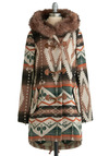 Tularosa Coat in Afternoon by BB Dakota - Multi, Orange, Green, Brown, Tan / Cream, Print, Buttons, Pockets, Trim, Casual, Long Sleeve, Winter, Long