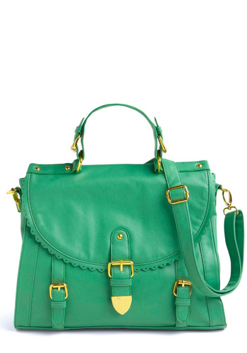 Happy Guppie Satchel - Green, Solid, Gold, Buckles, Scallops