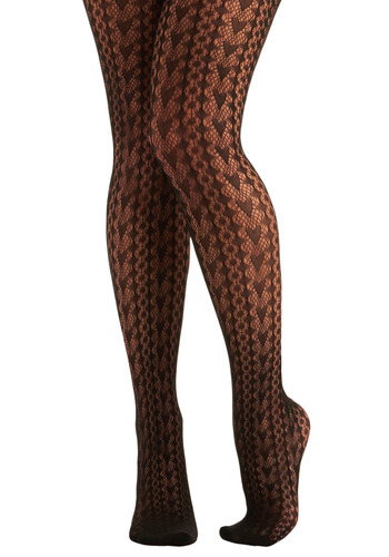 Betsey Johnson Hits the Dot Tights by Betsey Johnson - Black, Pink, Novelty Print, Casual, Fall, Show On Featured Sale, Lace