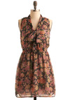 Dreams of Gardenia Dress - Multi, Floral, Sleeveless, Casual, A-line, Spring, Blue, Pink, Tan / Cream, Short, Tie Neck, Sheer