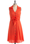 Soup-er Duper Dress - Orange, Solid, Bows, Empire, Sleeveless, Buttons, Casual, Summer, Fall, Mid-length