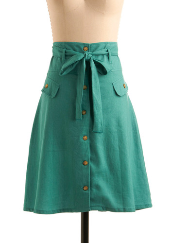Button Shop Regular Skirt in Peruse - Green, Solid, Bows, Buttons, Pockets, A-line, Casual, Spring, Summer, Fall, Mid-length