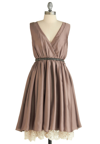 When We Meet Again Dress by Traffic People - Solid, Lace, Formal, Wedding, A-line, Sleeveless, Brown, Tan / Cream, Spring, Fall, Long