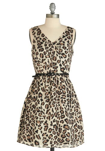 Lovely Leopardess Dress - Cream, Brown, Black, Animal Print, Party, A-line, Sleeveless, Safari, Spring, Summer, Fall, Mid-length