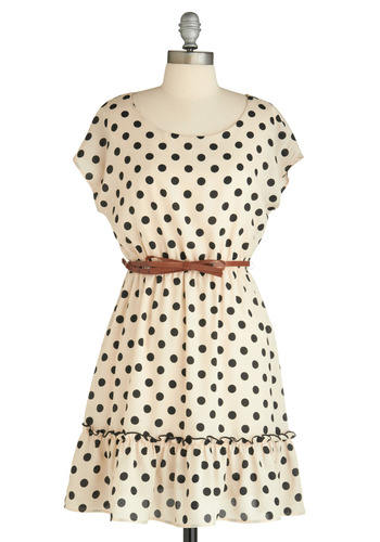 Haute Dotty Dress - Black, Polka Dots, Ruffles, A-line, Cap Sleeves, Cream, Casual, Mid-length, Belted