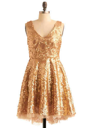 Striking Gold Dress - Gold, Sequins, A-line, Sleeveless, Formal, Prom, Short, Holiday Party, Cocktail, Fit & Flare, V Neck, Statement