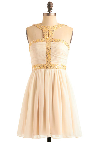 Sparkle Some Romance Dress - Yellow, Cutout, Sequins, A-line, Special Occasion, Wedding, Party, Prom, Mid-length, Cream, Gold, Sleeveless