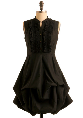 Billow Talk Dress - Black, Solid, Bows, Buttons, Ruffles, A-line, Sleeveless, Party, Mid-length