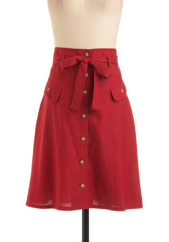 Button Shop Regular Skirt in Browse - Red, Solid, Bows, Pockets, A-line, Buttons, Casual, Summer, Fall, Mid-length