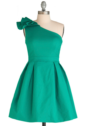 Can Beryl-y Wait Dress - Green, Solid, Pleats, Ruffles, A-line, One Shoulder, Special Occasion, Prom, Wedding, Fall, Short, Cocktail, Cotton, Fit & Flare