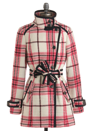 Plaid-ison Avenue Coat - Pink, Cream, Black, Plaid, Pockets, Trim, Long Sleeve, Work, Casual, Fall, Winter, Long
