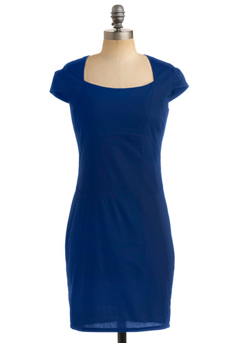 Portrait of a Fashionista Dress in Cobalt - Blue, Solid, Sheath / Shift, Cap Sleeves, Party, Fall, Rockabilly, Pinup, Vintage Inspired, 40s, 50s, Mid-length