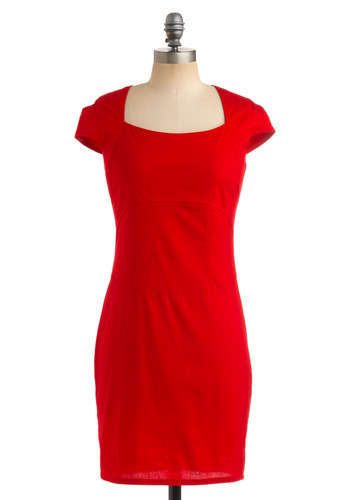 Portrait of a Fashionista Dress in Crimson - Red, Solid, Sheath / Shift, Cap Sleeves, Party, Fall, Rockabilly, Pinup, Vintage Inspired, 40s, 50s, Mid-length