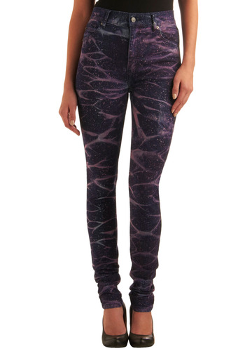 "Cosmos-politan Jeans (34"") - Blue, Purple, White, Print, Pockets, Casual, Fall, Winter, Long, Press Placement"