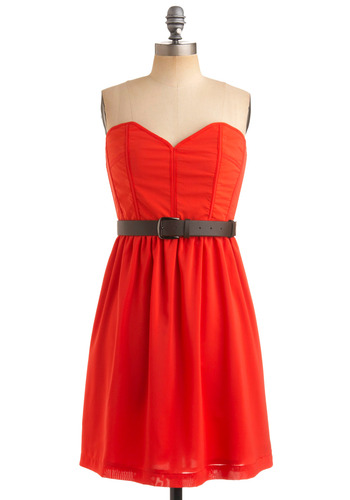 Coral Gables Dress - Orange, Solid, Buckles, Exposed zipper, A-line, Empire, Strapless, Party, Spring, Summer, Fall, Mid-length