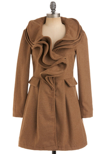 Couture Allure Coat by Ryu - Brown, Tan, Solid, Pleats, Pockets, Ruffles, Long Sleeve, Party, Work, Casual, Fall, Winter, Long, 2.5
