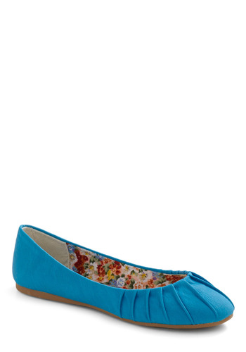 We've Got the Feet Flat - Blue, Solid, Pleats, Casual, Spring, Summer, Fall