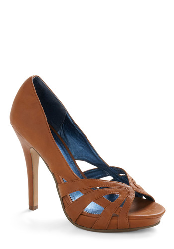 Overarching Theme Heel - Brown, Cutout, Party, Work, Spring, Summer, Fall