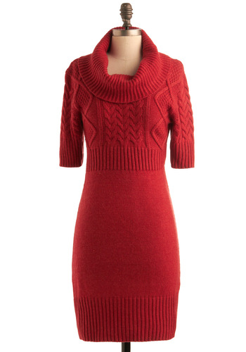 Changing Seasons Dress - Red, Knitted, Shift, Short Sleeves, Casual, Fall, Winter, Mid-length