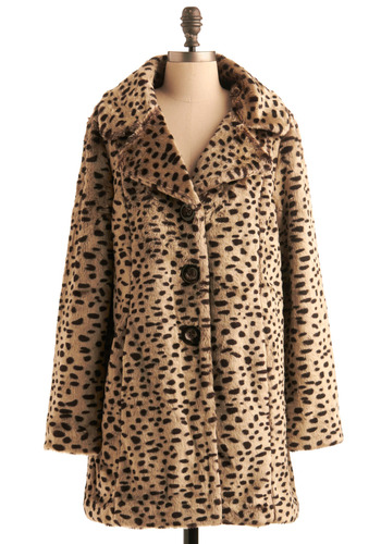 All About Meow Coat - Tan, Black, Animal Print, Buttons, Pockets, Long Sleeve, Formal, Party, Casual, Pinup, Vintage Inspired, Fall, Winter, Long, 3