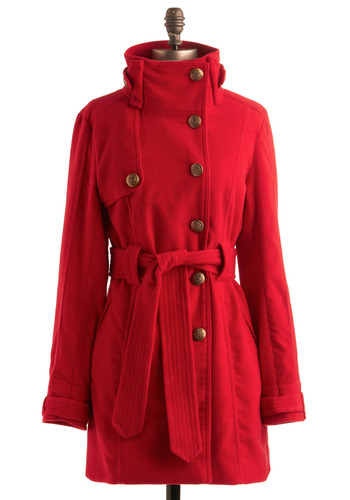 Candy Cane Cutie Coat in Cherry by Jack by BB Dakota - Red, Solid, Buttons, Pockets, Long Sleeve, Work, Casual, Military, Fall, Winter, Long, 3