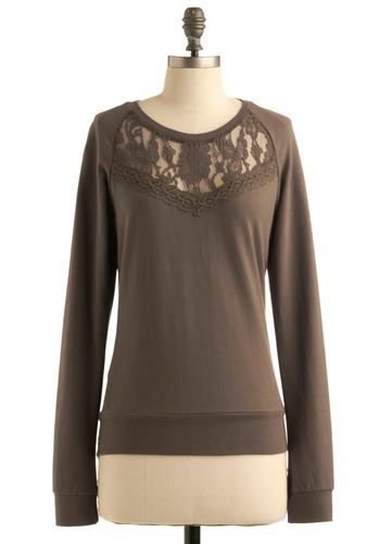 Critical Moss Top by Jack by BB Dakota - Green, Grey, Lace, Long Sleeve, Casual, Fall, Mid-length, Show On Featured Sale