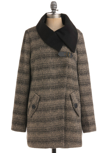 Buckle the Norm Coat by Jack by BB Dakota - Tan, Black, Buckles, Pockets, Long Sleeve, Casual, Fall, Winter, Long, 2.5