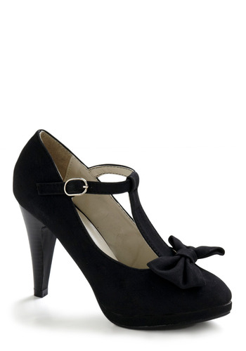 No Need to Spree Heel in Black - Black, Solid, Bows, Formal, Prom, Wedding, Party, Fall, 30s, 40s, 50s, 60s, Vintage Inspired, 20s, Rockabilly, Pinup