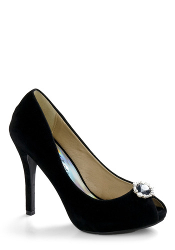Glamorous Gait Heel - Black, Solid, Rhinestones, Special Occasion, Prom, Wedding, Fall, Pinup