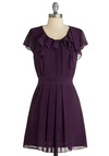 The Show Must Flow On Dress - Purple, Solid, Ruffles, Party, A-line, Cap Sleeves, Spring, Fall, Show On Featured Sale, Mid-length