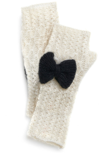 Isn't She Glovely? Gloves by Tulle Clothing - Cream, Black, Bows, Party, Casual, Fall, Winter, Wedding