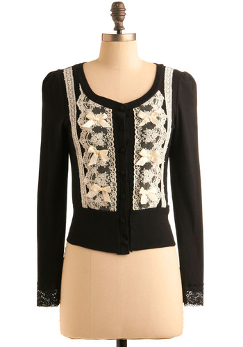 How Cute Are You? Cardigan - Black, Tan / Cream, Bows, Buttons, Lace, Work, Casual, 40s, Long Sleeve, Fall, Winter, Short