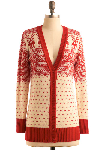 Private Lodge Sweater - Red, Tan, Novelty Print, Buttons, Knitted, Casual, Long Sleeve, Fall, Winter, Folk Art