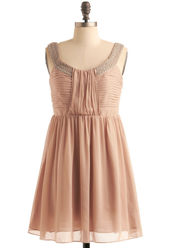 Beading Heart Dress - Tan, Wedding, A-line, Tank top (2 thick straps), Spring, Fall, Short