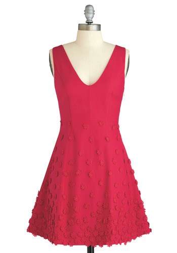Raspberry Bouquet Dress - Pink, Floral, Flower, A-line, Tank top (2 thick straps), Bows, Braided, Wedding, Party, Luxe, Statement, Urban, Summer, Folk Art, Short