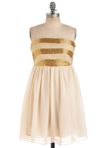 Dancing 'til Daybreak Dress - Cream, Gold, Stripes, Beads, Special Occasion, Wedding, Party, A-line, Strapless, Spring, Fall, Mid-length