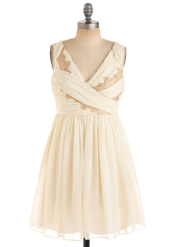 Gilded Grecian Dress - Cream, Gold, Floral, Special Occasion, Wedding, Party, A-line, Tank top (2 thick straps), Fall, Mid-length, Prom, Lace