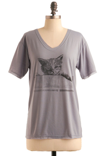 Tabby Chic Top - Grey, Black, Print with Animals, Short Sleeves, Casual, Spring, Summer, Fall, Mid-length