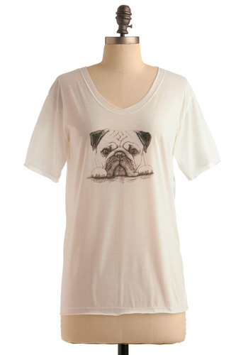 Love Pug Tee - White, Black, Print with Animals, Short Sleeves, Casual, Spring, Summer, Fall, Mid-length