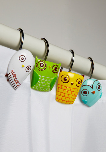 Owl Clean Shower Curtain Rings - Owls, Show On Featured Sale, Multi, Yellow, Green, Blue, White, Quirky