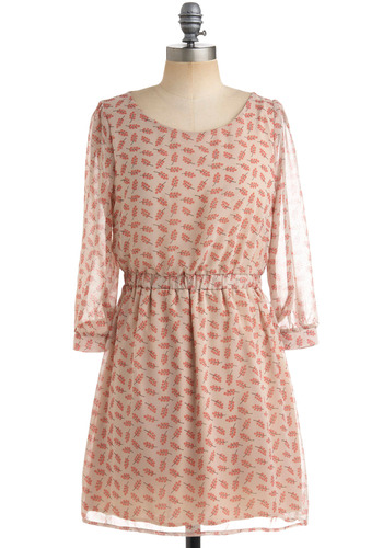 Holly at Me Dress - Cream, Pink, Print, A-line, 3/4 Sleeve, Party, Work, Casual, Spring, Backless, Cutout, Short