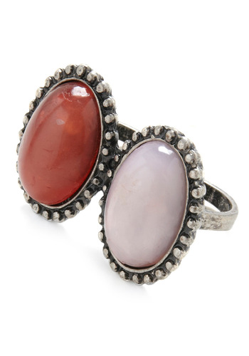 Double This, Double That Ring - Red, White, Silver, Casual, Boho