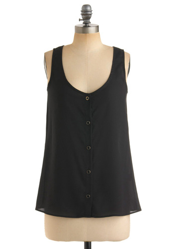Steady Beats Top - Black, Solid, Pleats, Tank top (2 thick straps), Casual, Summer, Fall, Mid-length