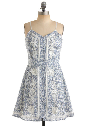 Crochet After Day Dress - Blue, Floral, Lace, A-line, Spaghetti Straps, Casual, Spring, Summer, White, Short