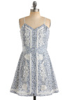 Crochet After Day Dress - Blue, Floral, Lace, A-line, Spaghetti Straps, Party, Casual, Spring, Summer, White, Short