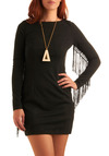 Star Singer Dress - Black, Solid, Cutout, Fringed, Long Sleeve, Party, Mini, Fall, Short