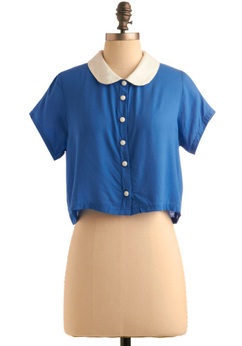 Crop By Sometime Top by Motel - Blue, White, Short Sleeves, Casual, Rockabilly, 50s, Spring, Summer, Fall, Short, International Designer