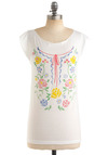 Finding Your Cross-Niche Tee - White, Multi, Floral, Short Sleeves, Casual, Spring, Summer, Fall, Mid-length