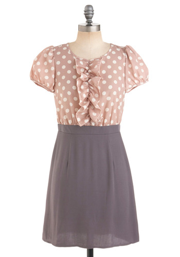Polka Power Dress - White, Polka Dots, Cutout, Ruffles, Twofer, Short Sleeves, Casual, Vintage Inspired, Spring, Summer, Fall, Grey, Pink, Tan / Cream, Mid-length